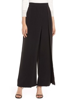 Eliza J High Waist Wide Leg Crepe Pants