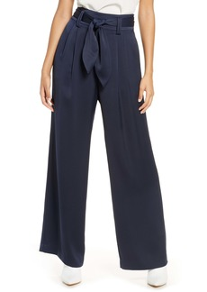 Eliza J High Waist Wide Leg Satin Pants