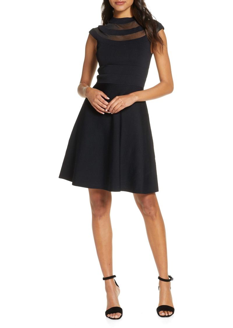 Eliza J Illusion Yoke Fit & Flare Sweater Dress