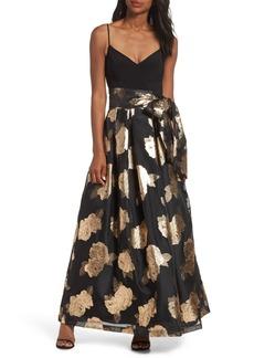 Eliza J Jacquard Floral Gown