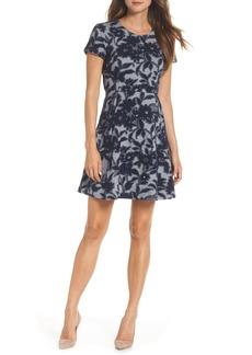 Eliza J Jacquard Knit Fit & Flare Dress