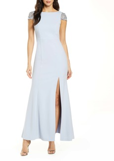 Eliza J Jeweled Cap Sleeve Trumpet Gown