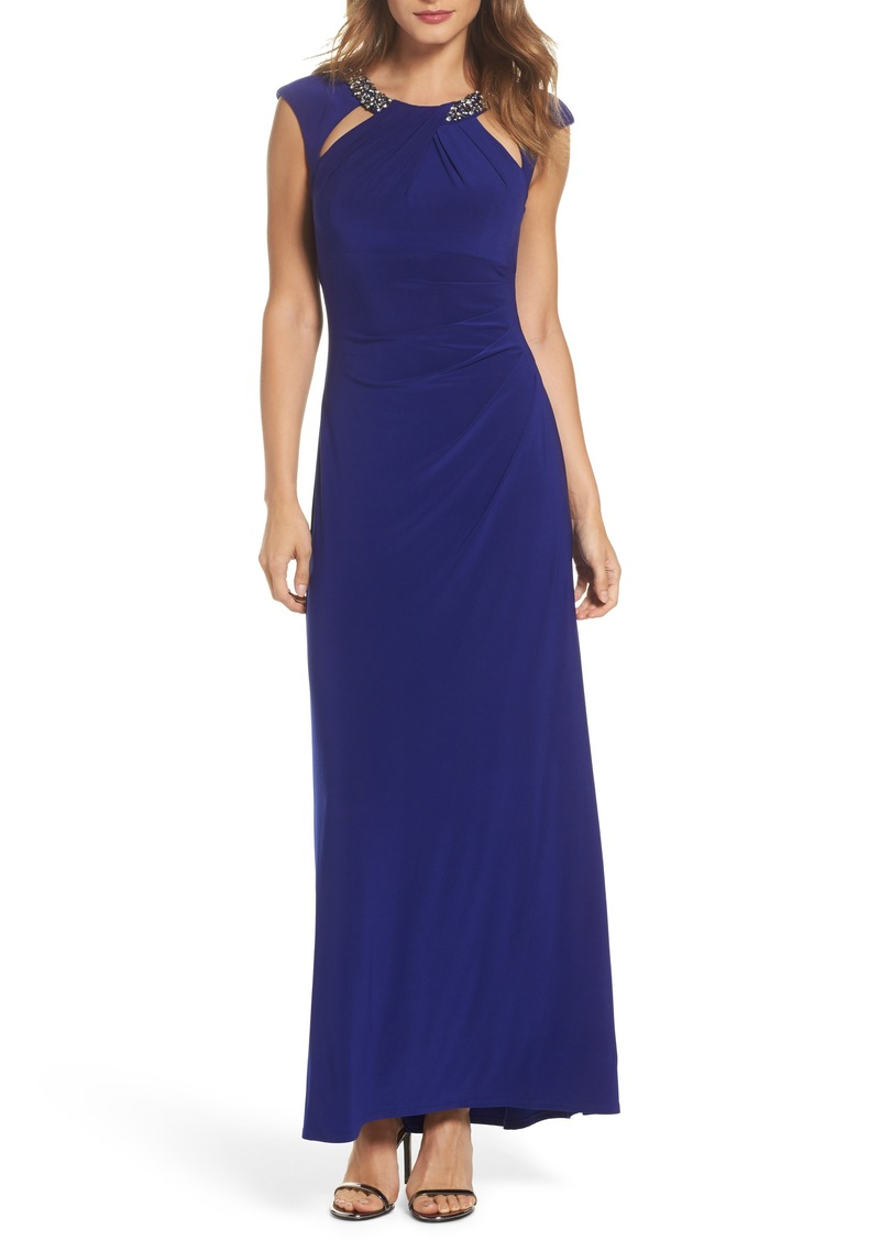 Eliza J Eliza J Jeweled Neck Column Gown (Regular & Petite) | Dresses