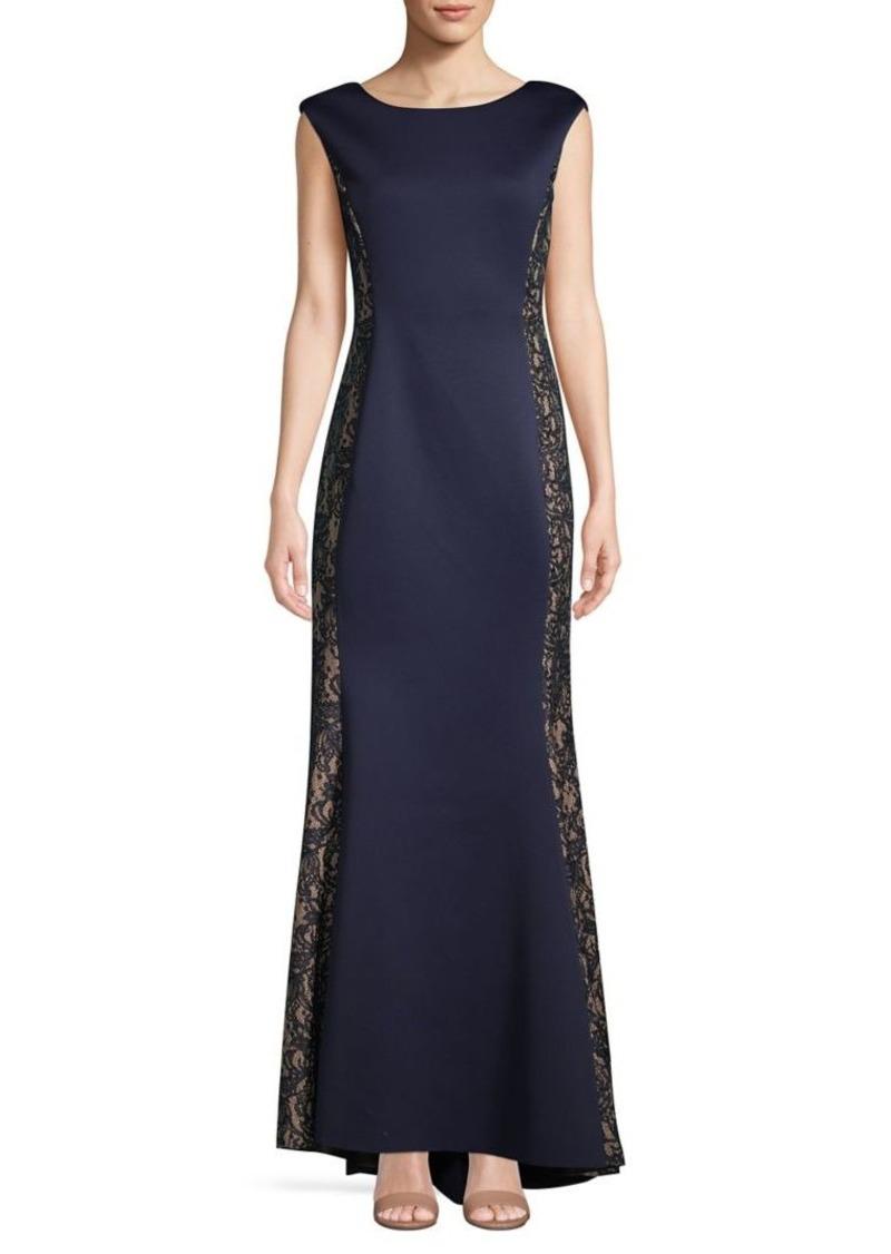 Eliza J Lace Cap-Sleeve Gown