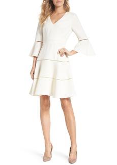 Eliza J Bell Sleeve Lace Inset Fit & Flare Dress (Regular & Petite)