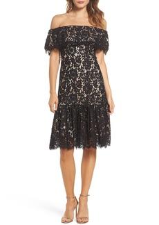 Eliza J Lace Off the Shoulder Midi Dress