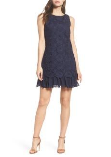 Eliza J Lace Ruffle Hem Sheath Dress (Regular & Petite)