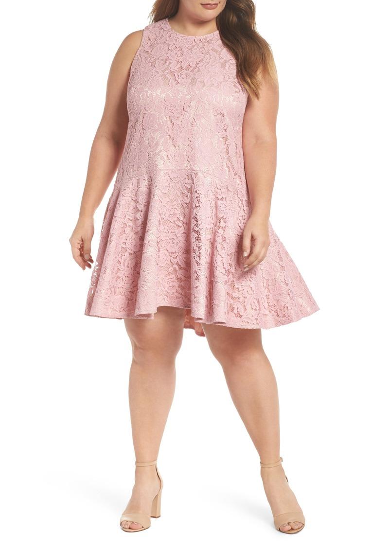 Eliza J Eliza J Lace Sleeveless Drop Waist Dress (Plus Size) Now $112.80