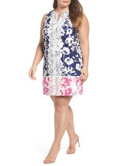Eliza J Lace Trim Two Tone Print Shift Dress (Plus Size)