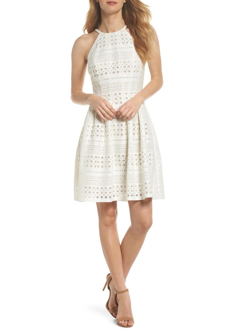 2ccc2c5ab1 Eliza J Eliza J Laser Cut Fit   Flare Halter Dress