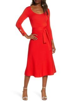 Eliza J Long Sleeve Fit & Flare Sweater Dress