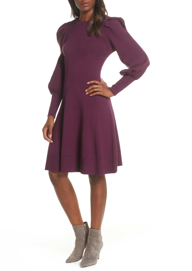 Eliza J Long Sleeve Fit & Flare Sweater Dress