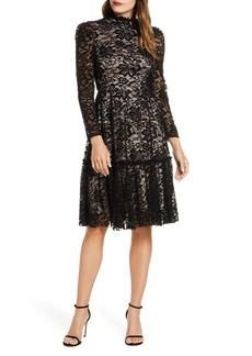 Eliza J Long Sleeve Mock Neck Fit & Flare Lace Dress