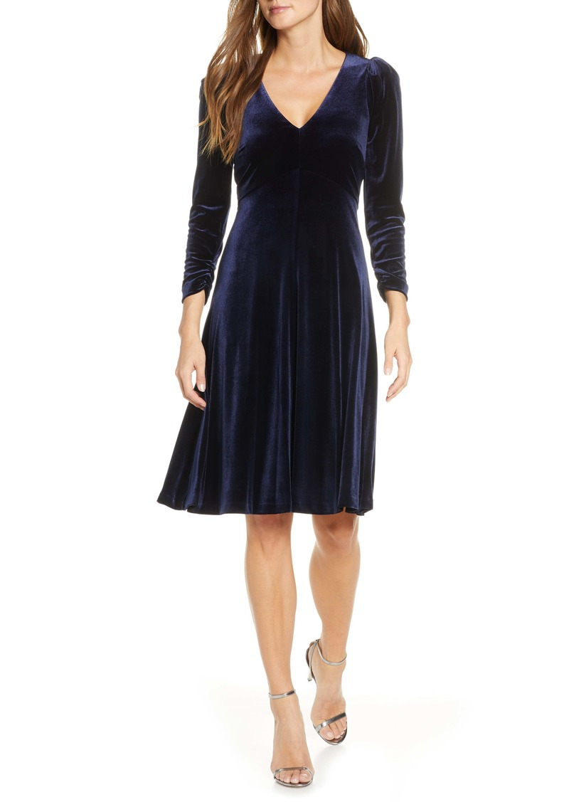 Eliza J Long Sleeve V-Neck A-Line Velvet Dress