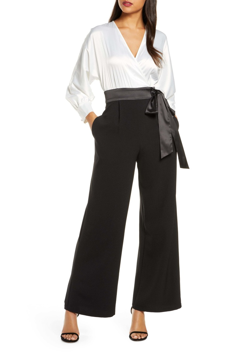 Eliza J Long Sleeve V-Neck Satin Bodice Jumpsuit