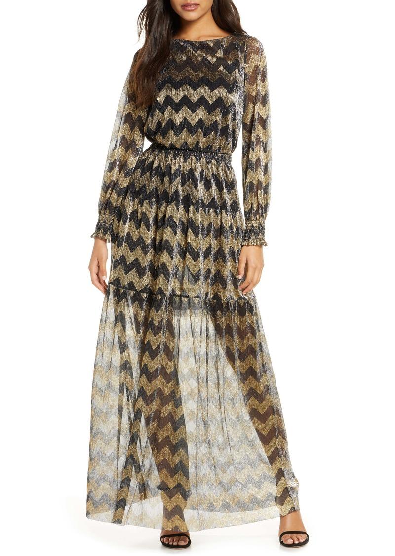 Eliza J Metallic Chevron Stripe Long Sleeve Maxi Dress