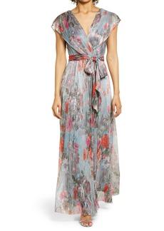 Eliza J Metallic Floral Drape Shoulder Gown