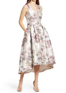 Eliza J Metallic Floral Jacquard High/Low Dress