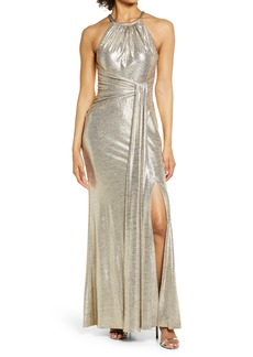 Eliza J Metallic Halter Gown