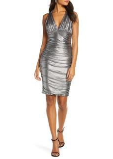 Eliza J Metallic Ruched Cocktail Dress