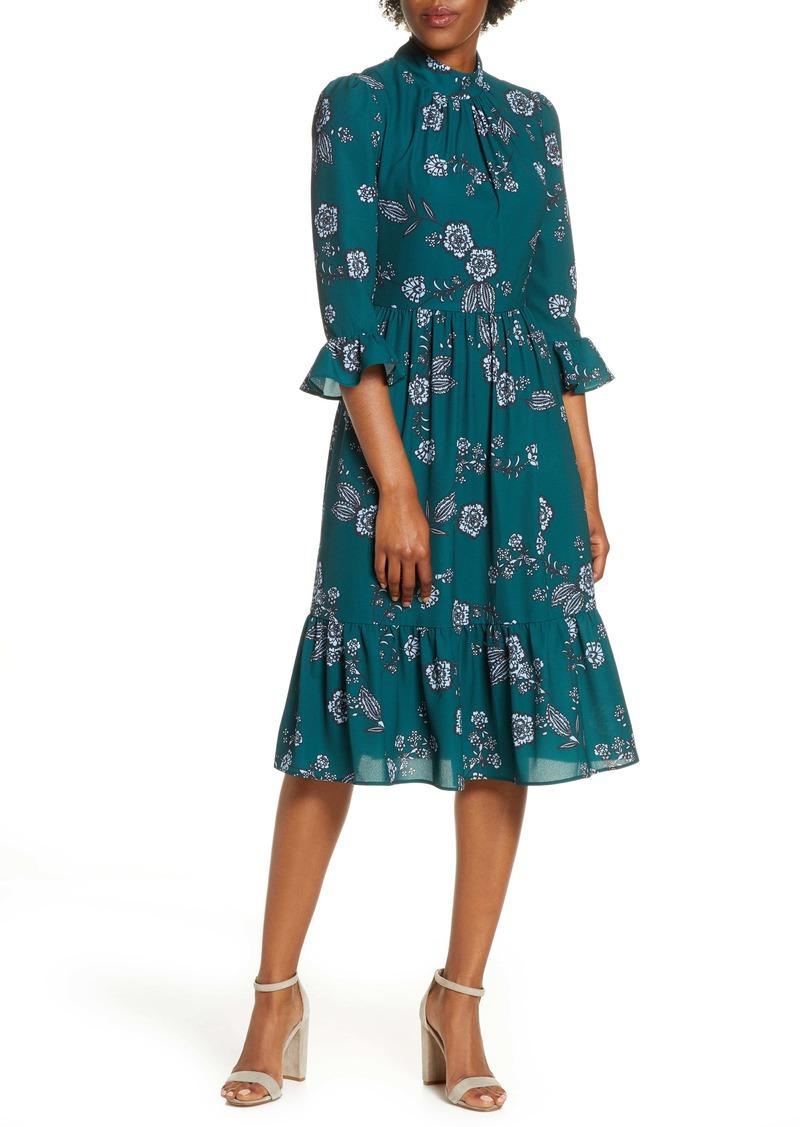 Eliza J Mock Neck Crepe Fit & Flare Dress