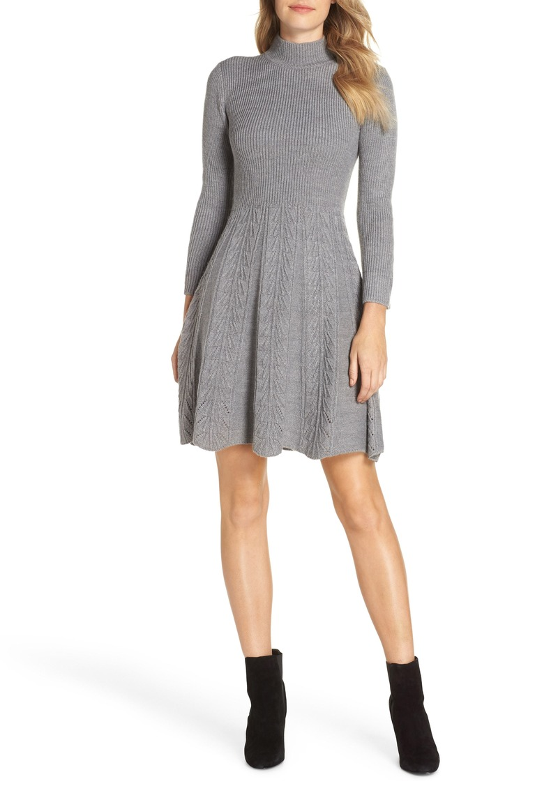 Eliza J Mock Neck Fit & Flare Sweater Dress (Regular & Petite)