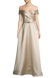 Eliza J Off-the-Shoulder A-Line Gown