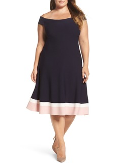 Eliza J Off the Shoulder Fit & Flare Dress (Plus Size)