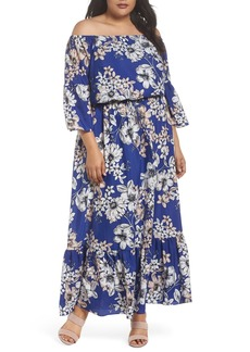 Eliza J Off the Shoulder Floral Maxi Dress (Plus Size)