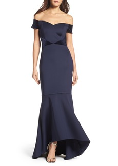 Eliza J Off the Shoulder High/Low Mermaid Gown (Regular & Petite)