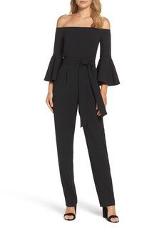 Eliza J Off the Shoulder Bell Sleeve Slim Leg Jumpsuit (Regular & Petite)