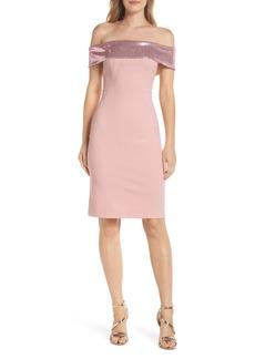 Eliza J Off the Shoulder Sequin Foldover Dress (Regular & Petite)