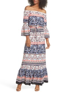 Eliza J Off the Shoulder Tie Waist Maxi Dress (Regular & Petite)