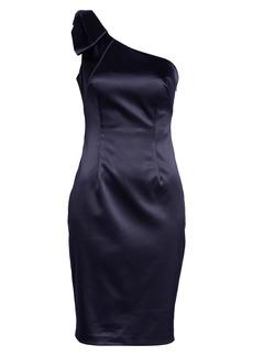 Eliza J One-Shoulder Bow Detail Satin Sheath Dress