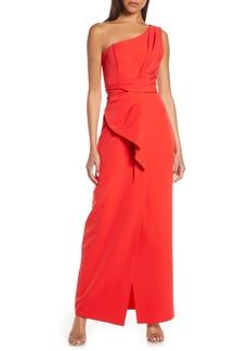 Eliza J One-Shoulder Laguna Crepe Evening Gown