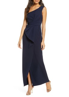 Eliza J One-Shoulder Laguna Crepe Evening Gown