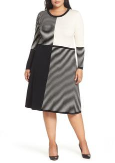 Eliza J Placed Stripe Midi Sweater Dress (Plus Size)