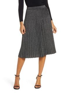 Eliza J Pleated Knit Midi Skirt