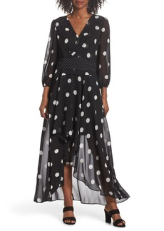 Eliza J Polka Dot Chiffon Maxi Dress (Regular & Petite)