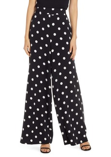 Eliza J Polka Dot Wide Leg Crepe Pants