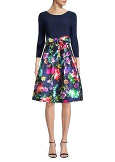 Eliza J Quarter-Sleeve Fit-&-Flare Party Dress