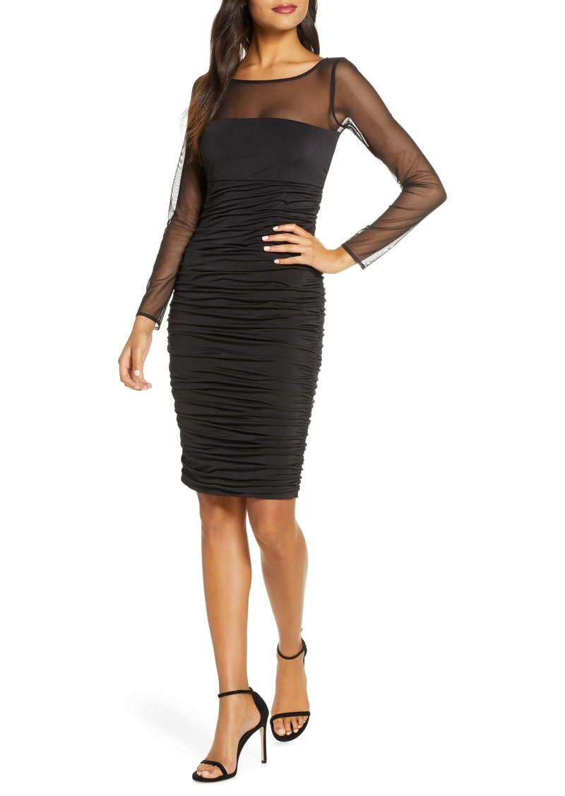 Eliza J Ruched Long Sleeve Illusion Mesh Cocktail Dress