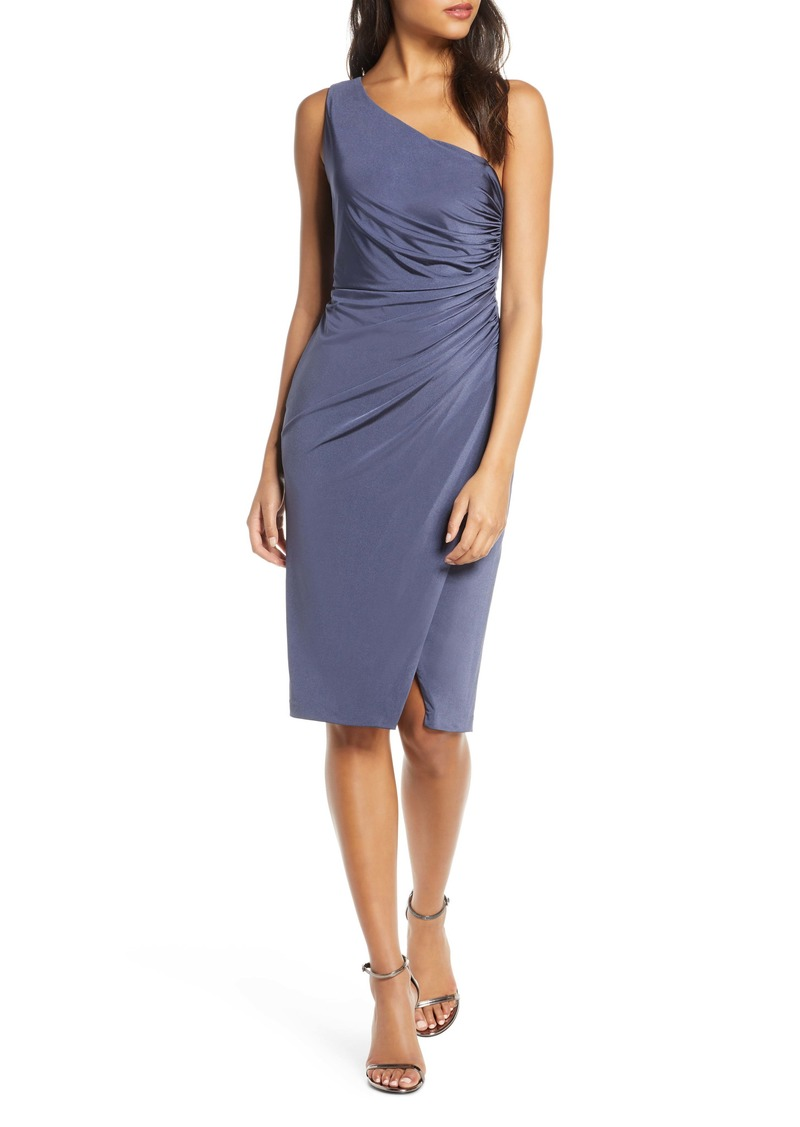 Eliza J Ruched One-Shoulder Cocktail Dress