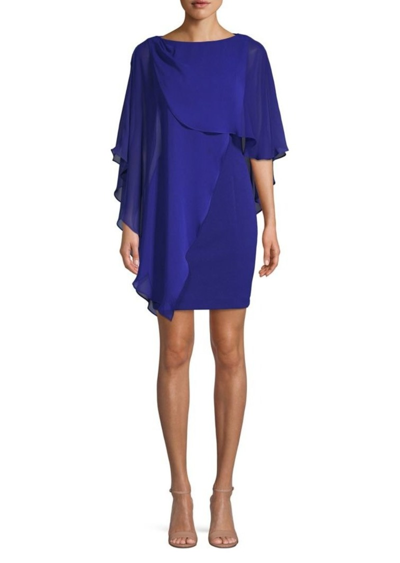 Eliza J Ruffle Cape Sheath Dress