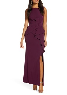 Eliza J Ruffle Front Gown (Regular & Petite)