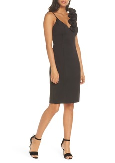 Eliza J Ruffle Shoulder Scuba Crepe Dress