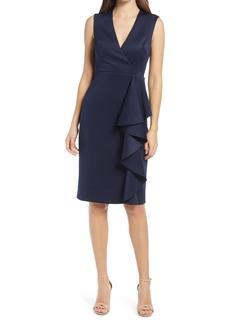 Eliza J Ruffle Sleeveless Body-Con Cocktail Dress