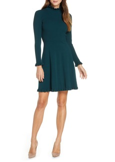 Eliza J Ruffle Trim Long Sleeve Sweater Dress