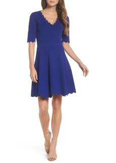 Eliza J Scallop Trim Fit & Flare Dress