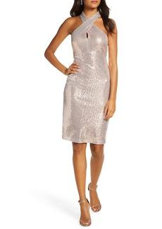 Eliza J Sequin Cross Neck Body-Con Dress